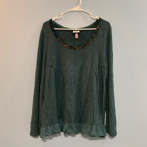 Knox Rose Green Lace Detail Sweater XXL